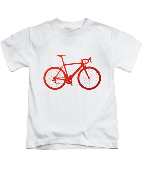Road Bike Silhouette - Red On White Canvas Kids T-Shirt by Serge Averbukh