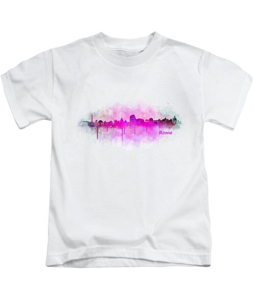 Rome City Skyline Hq V05 Pink Kids T-Shirt
