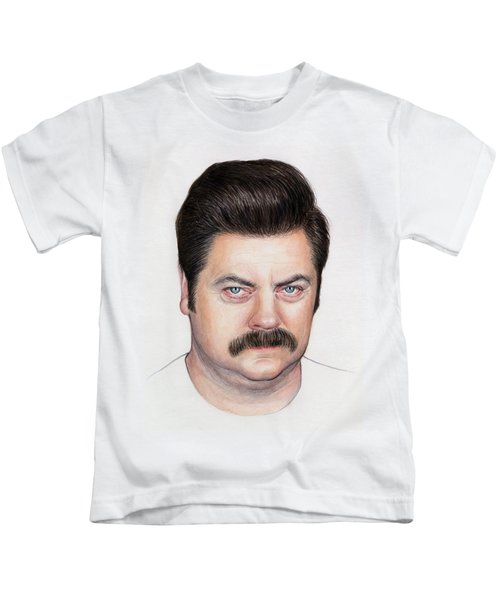 Ron Swanson Portrait Nick Offerman Kids T-Shirt by Olga Shvartsur