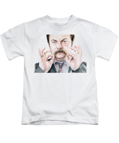 Ron Swanson Mustache Portrait Kids T-Shirt by Olga Shvartsur