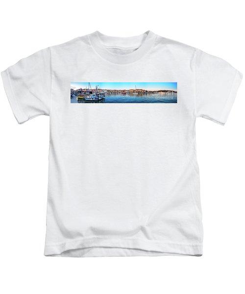 Rovinj Harbor And Boats Panorama Kids T-Shirt