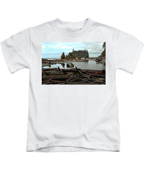 Ruby Beach Driftwood Kids T-Shirt