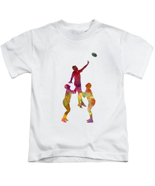 Rugby Men Players 01 In Watercolor Kids T-Shirt