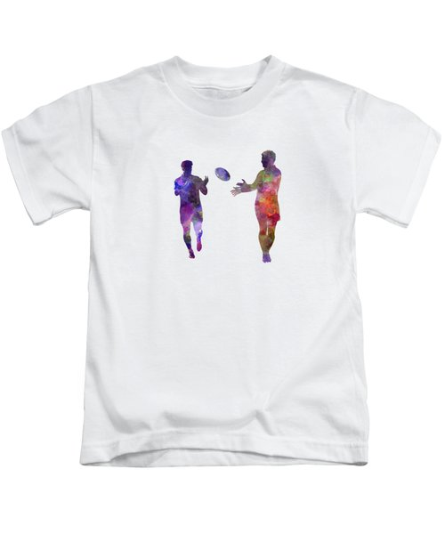 Rugby Men Players 04 In Watercolor Kids T-Shirt