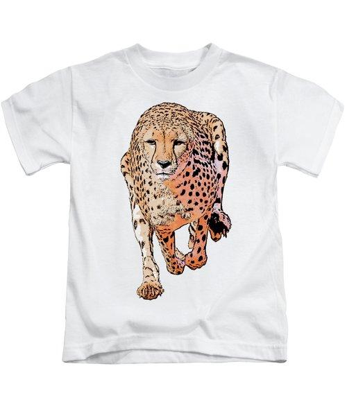 Running Cheetah Cartoonized #1 Kids T-Shirt