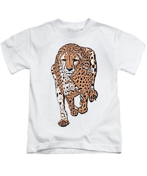 Running Cheetah Cartoonized #2 Kids T-Shirt
