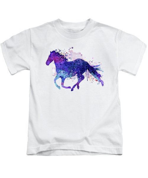Running Horse Watercolor Silhouette Kids T-Shirt