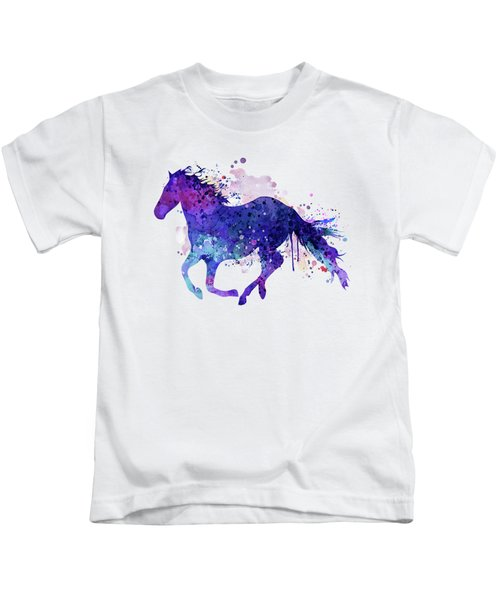 Running Horse Watercolor Silhouette Kids T-Shirt