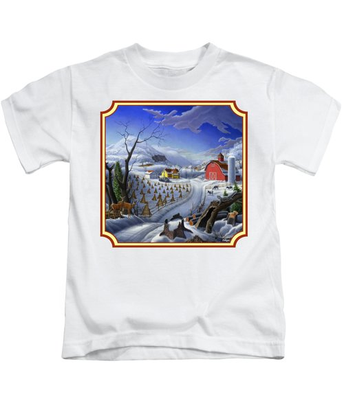Rural Winter Country Farm Life Landscape - Square Format Kids T-Shirt by Walt Curlee