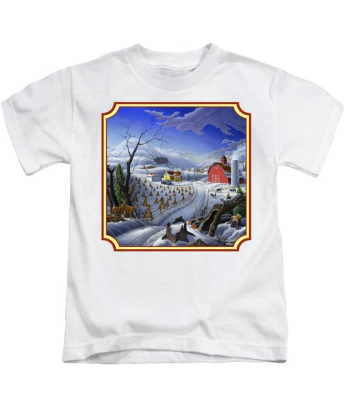 Rural Winter Country Farm Life Landscape - Square Format Kids T-Shirt