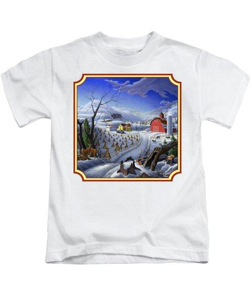 Rural Winter Country Farm Life Landscape - Square Format Kids T-Shirt