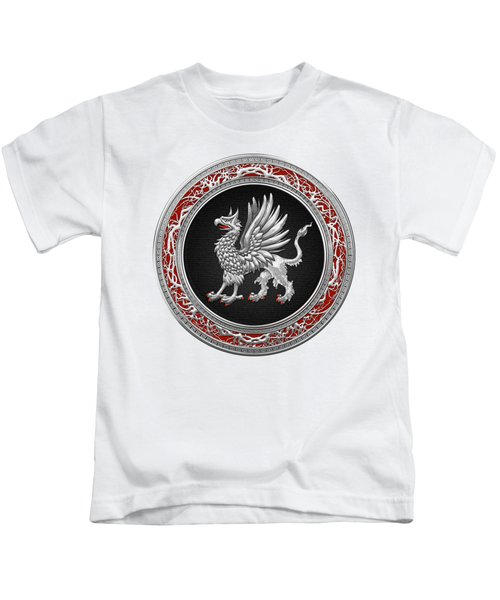 Sacred Silver Griffin On White Leather Kids T-Shirt