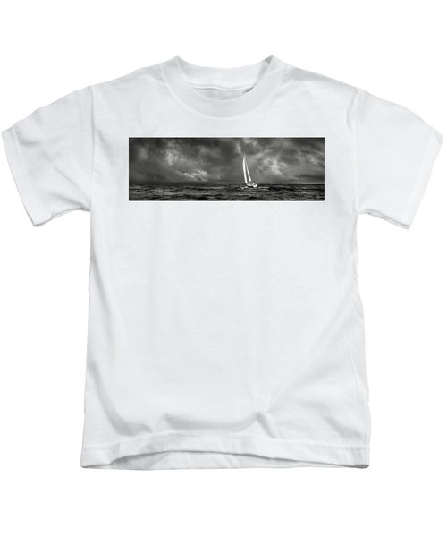 Sailing The Wine Dark Sea In Black And White Kids T-Shirt