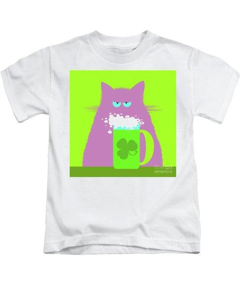 Saint Patrick's Day Lilac Cat  Kids T-Shirt
