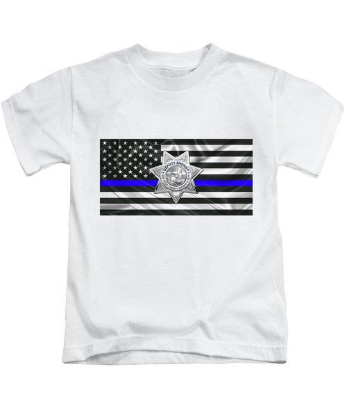 San Diego County Sheriff's Department -  S D S O  Deputy Sheriff Badge Over The Thin Blue Line Flag Kids T-Shirt