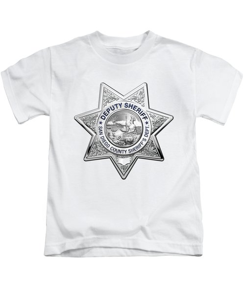 San Diego County Sheriff's Department -  S D S O  Deputy Sheriff Badge Over White Leather Kids T-Shirt