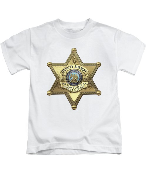 San Juan County, N. M. Sheriff's Office -  S J C S O  Deputy Sheriff Badge Over White Leather Kids T-Shirt