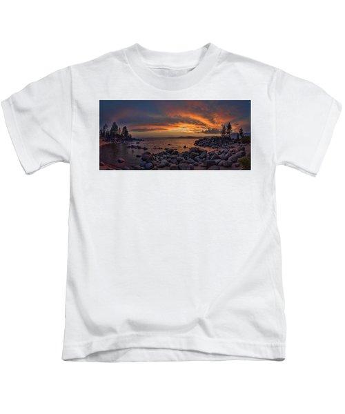 Sand Harbor Sunset Panorama Kids T-Shirt