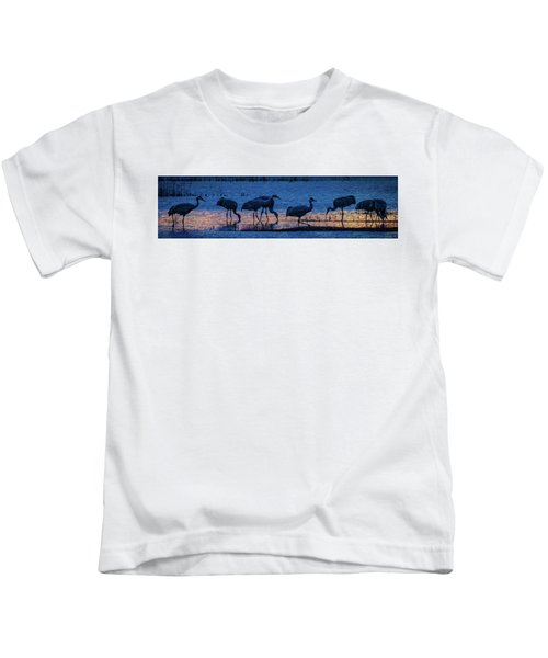 Sandhill Cranes At Twilight Kids T-Shirt