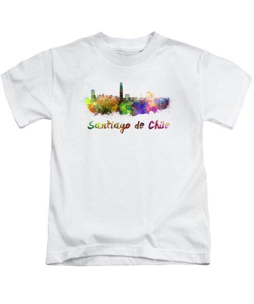 Santiago De Chile Skyline In Watercolor Kids T-Shirt
