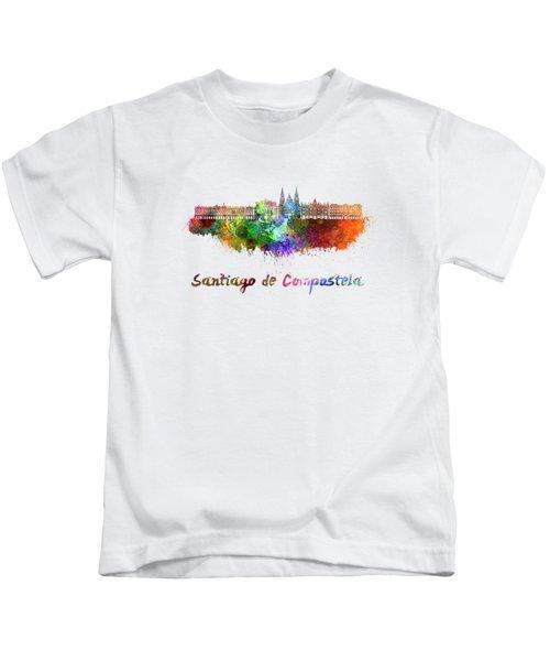 Santiago De Compostela Skyline In Watercolor Kids T-Shirt