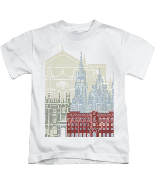Santiago De Compostela Skyline Poster  Kids T-Shirt