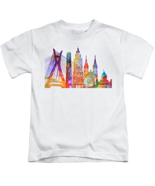 Sao Paulo Landmarks Watercolor Poster Kids T-Shirt