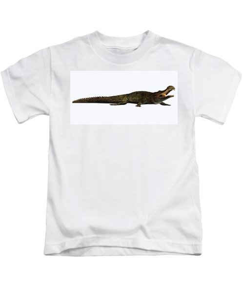 Sarcosuchus On White Kids T-Shirt