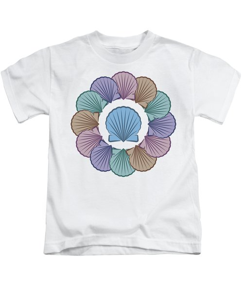 Scallop Shells Circle Multi Color Kids T-Shirt