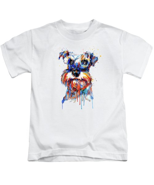 Schnauzer Head Kids T-Shirt by Marian Voicu