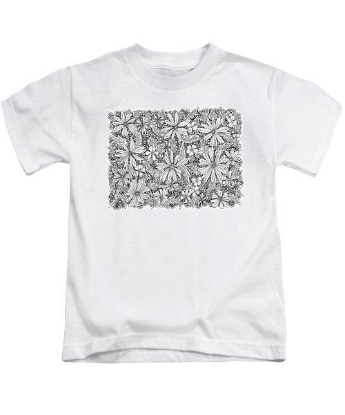 Sea Of Flowers And Seeds At Night Horizontal Kids T-Shirt by Tamara Kulish