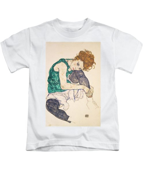 Seated Woman With Legs Drawn Up Kids T-Shirt