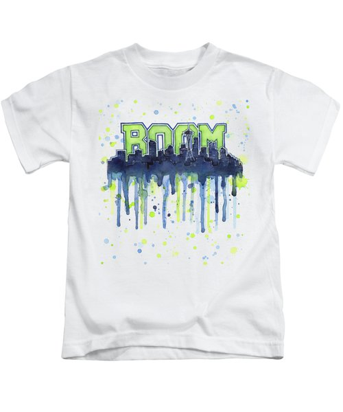 Seattle 12th Man Legion Of Boom Watercolor Kids T-Shirt