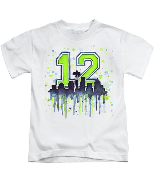 Seattle Seahawks 12th Man Art Kids T-Shirt by Olga Shvartsur