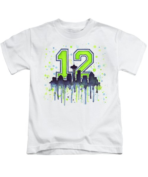 Seattle Seahawks 12th Man Art Kids T-Shirt