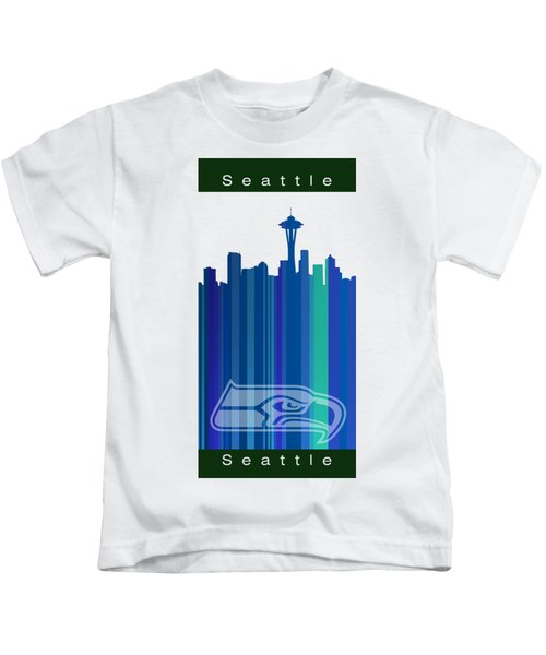 Seattle Sehawks Skyline Kids T-Shirt by Alberto RuiZ