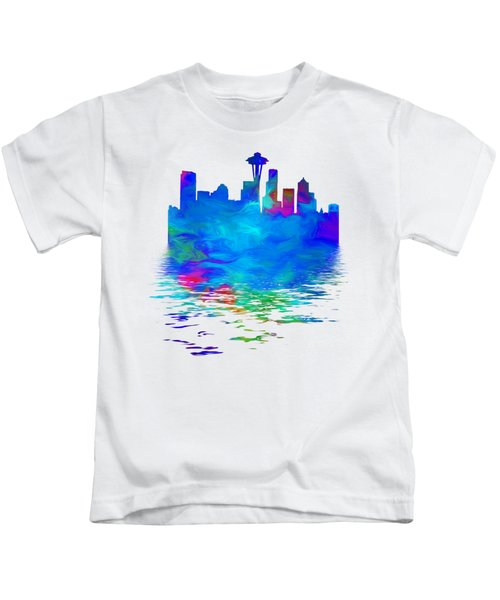 Seattle Skyline, Blue Tones On White Kids T-Shirt by Pamela Saville