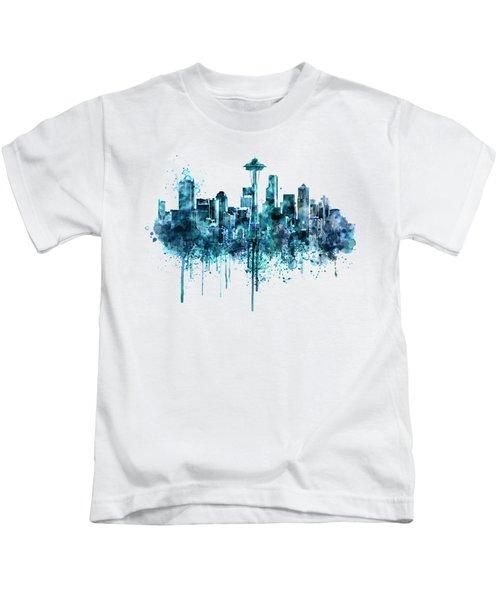 Seattle Skyline Monochrome Watercolor Kids T-Shirt