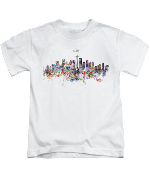 Seattle Skyline Silhouette Kids T-Shirt by Marian Voicu