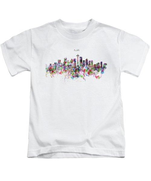 Seattle Skyline Silhouette Kids T-Shirt