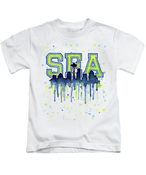 Seattle Watercolor 12th Man Art Painting Space Needle Go Seahawks Kids T-Shirt by Olga Shvartsur