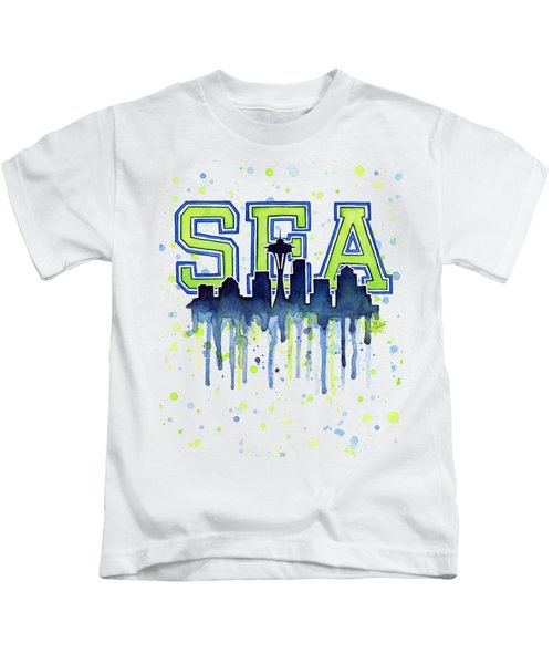 Seattle Watercolor 12th Man Art Painting Space Needle Go Seahawks Kids T-Shirt