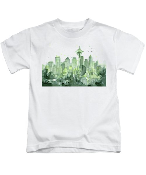 Seattle Watercolor Kids T-Shirt