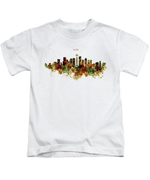 Seattle Watercolor Skyline Poster Kids T-Shirt