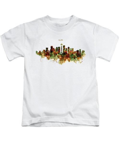Seattle Watercolor Skyline Poster Kids T-Shirt