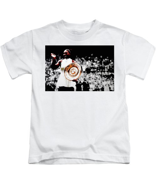 Serena 2016 Wimbledon Victory Kids T-Shirt by Brian Reaves