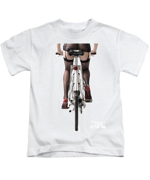 Sexy Woman Riding A Bike Kids T-Shirt