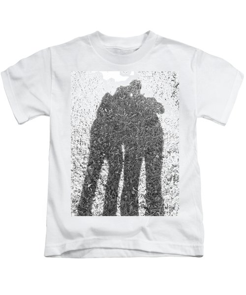 Shadow In The Meadow Bw Kids T-Shirt