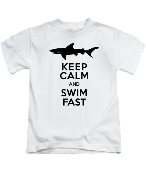 Sharks Keep Calm And Swim Fast Kids T-Shirt by Antique Images