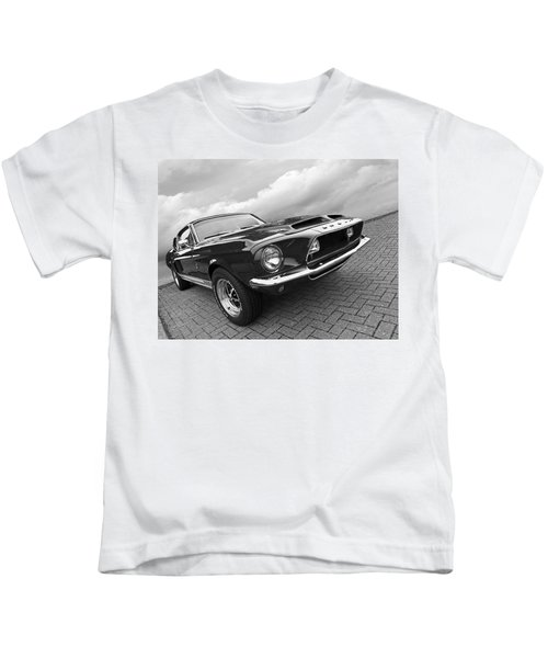 Shelby Gt500kr 1968 In Black And White Kids T-Shirt